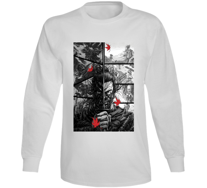 Ghost Of Tsushima Video Game Comic Page Art Long Sleeve T Shirt