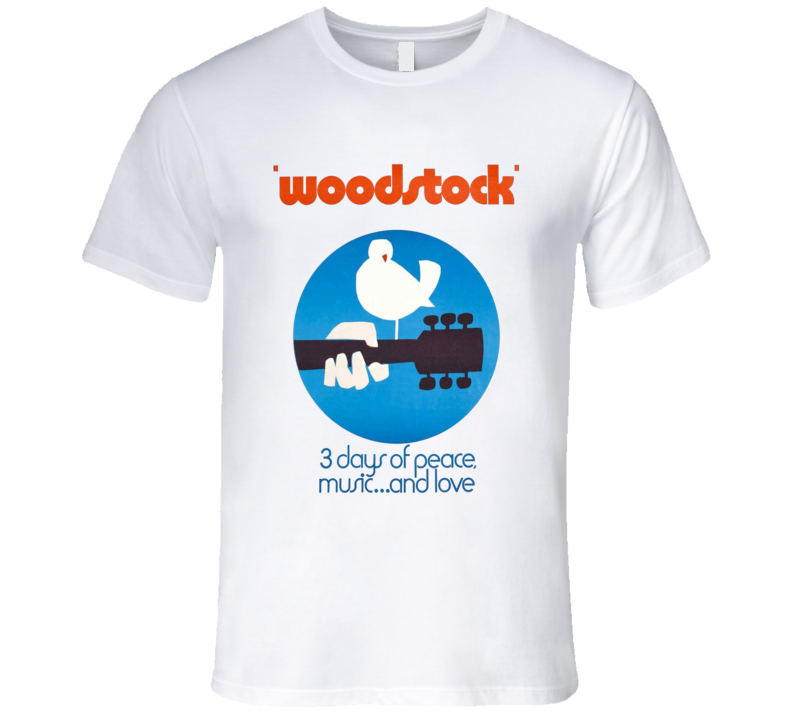 Woodstock 1969 3 Days Of Peace And Music Guitar Bird T Shirt