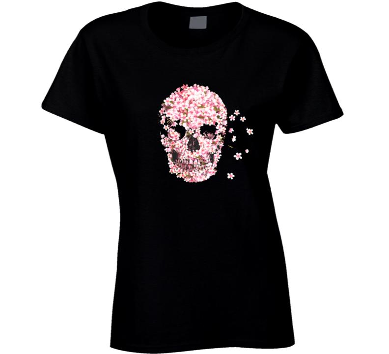 Pink Flower Skull Floral Design T Shirt