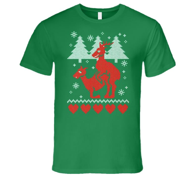 Funny Reindeer Banging Christmas Sweater T Shirt