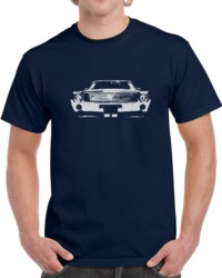 1968 Amx Grill View Faded Look Navy Blue T Shirt