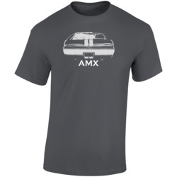 1968 Amx Rear View Faded Look Charcoal Grey T Shirt