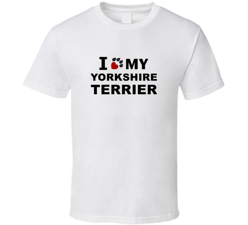 I Heart Love My Yorkshire Terrier Dog T Shirt