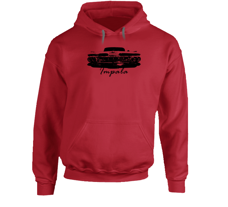 1959 Impala Grill View With Model Name Heavy Duty Cotton Hoodie