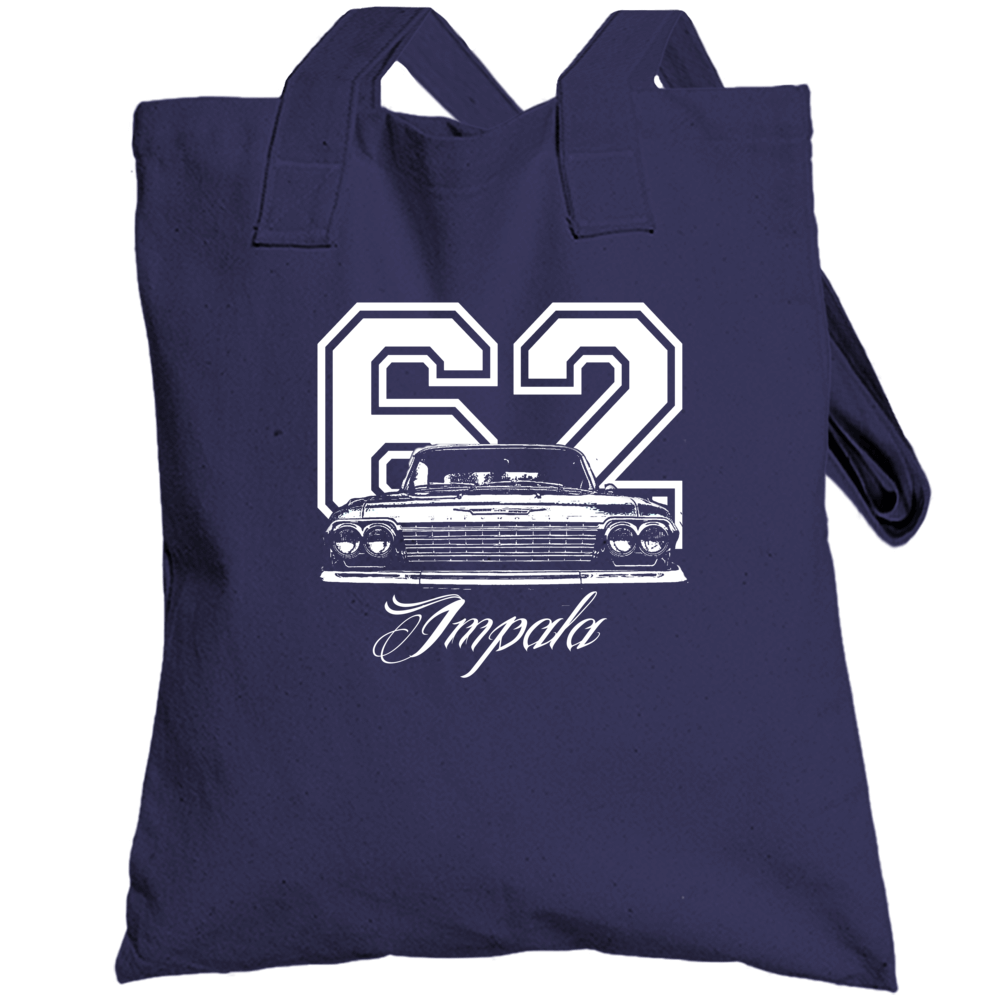 1962 Impala Grill View With Year And Model Name Navy Blue Cotton Bag Totebag