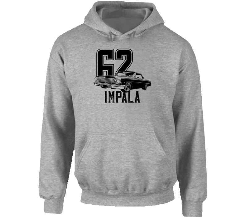 1962 Impala Three Quarter Angle View With Year And Model Name Super Comfy Light Color Hoodie