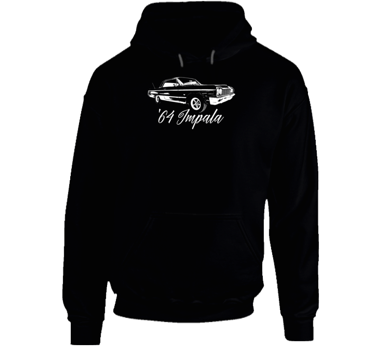 1964 Impala Three Quarter Angle View With Year And Model Name Super Comfy Dark Color Hoodie