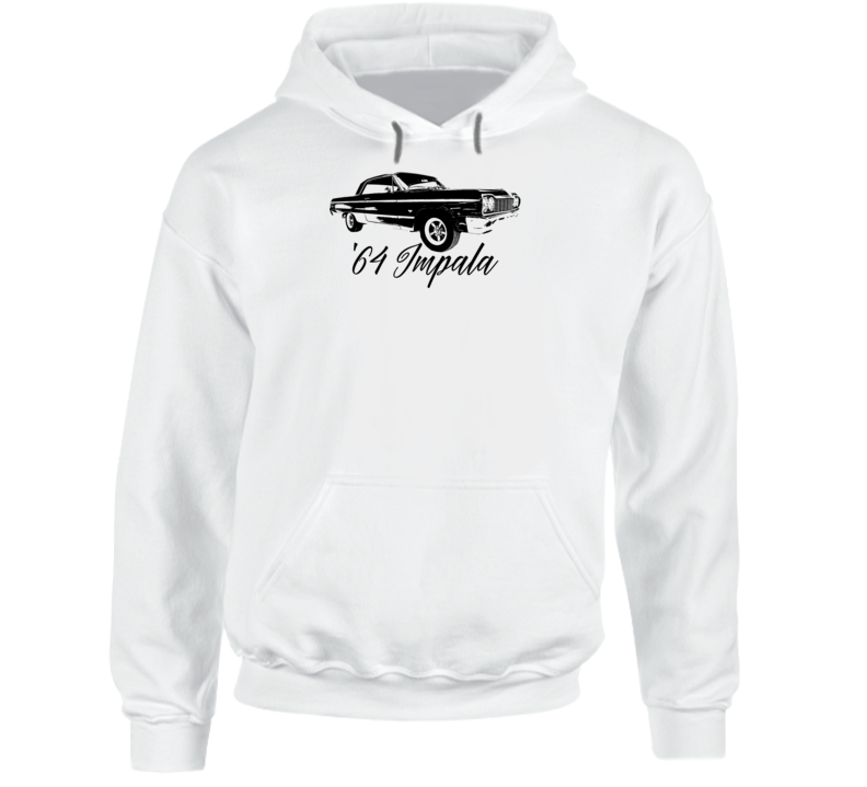 1964 Impala Three Quarter Angle View With Year And Model Name Super Comfy Light Color Hoodie