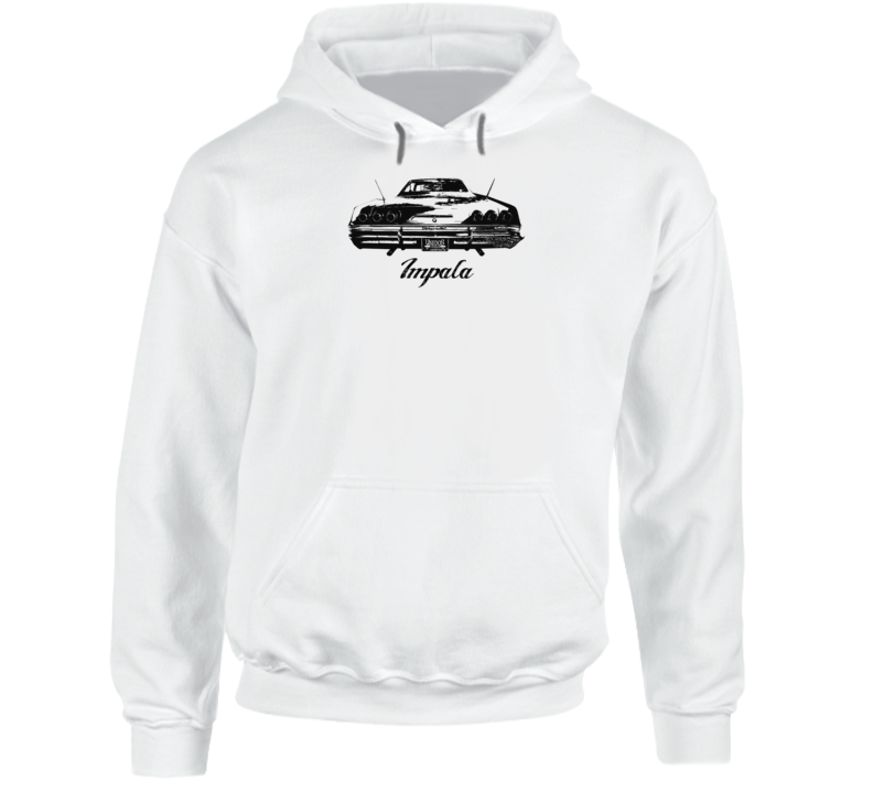 1965 Impala Rear View With Model Name Super Comfy High Quality Light Color Hoodie