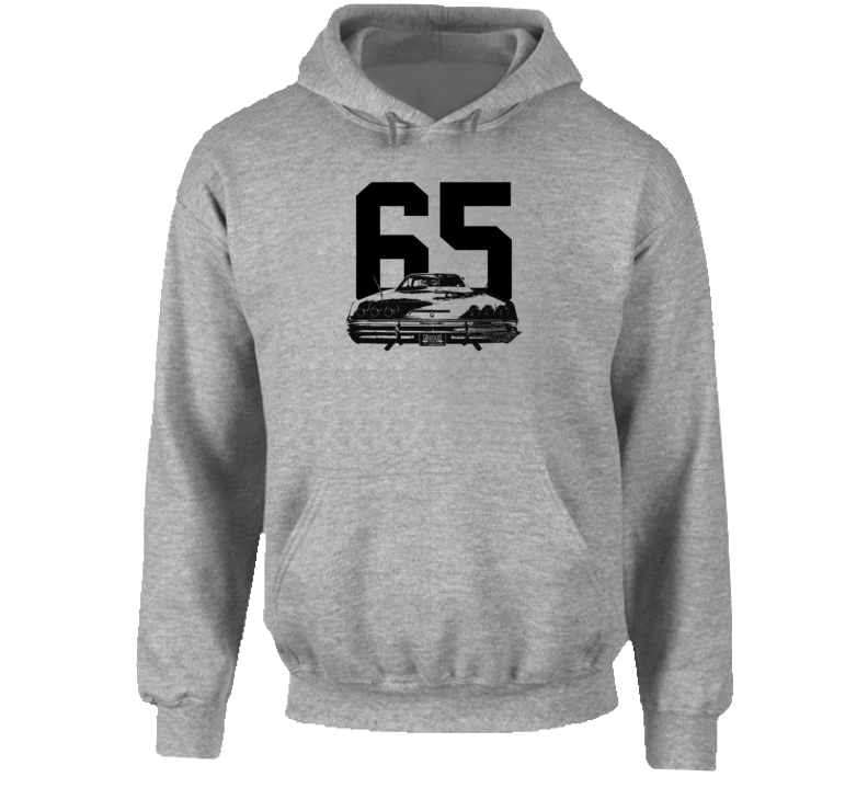 1965 Impala Rear View With Year Super Comfy High Quality Light Color Hoodie