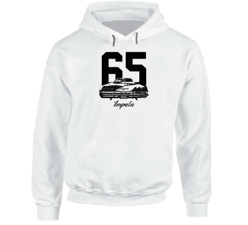 1965 Impala Rear View With Year And Model Name Super Comfy High Quality Light Color Hoodie