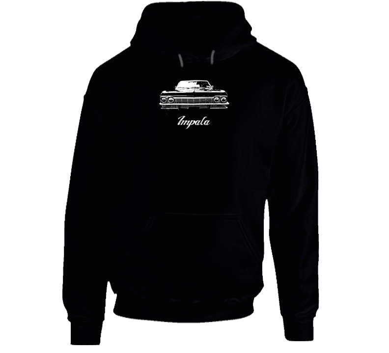 1965 Impala Grill View With Model Name Super Comfy High Quality Dark Color Hoodie