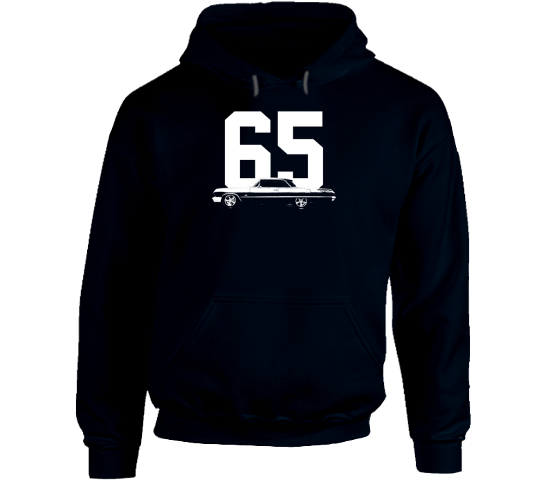 1965 Impala Side View With Year Super Comfy High Quality Dark Color Hoodie