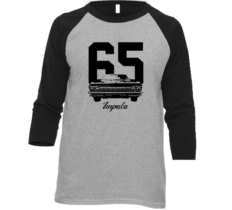 1965 Impala Grill View With Year And Model Name Heather Grey And Black Baseball Raglan T Shirt