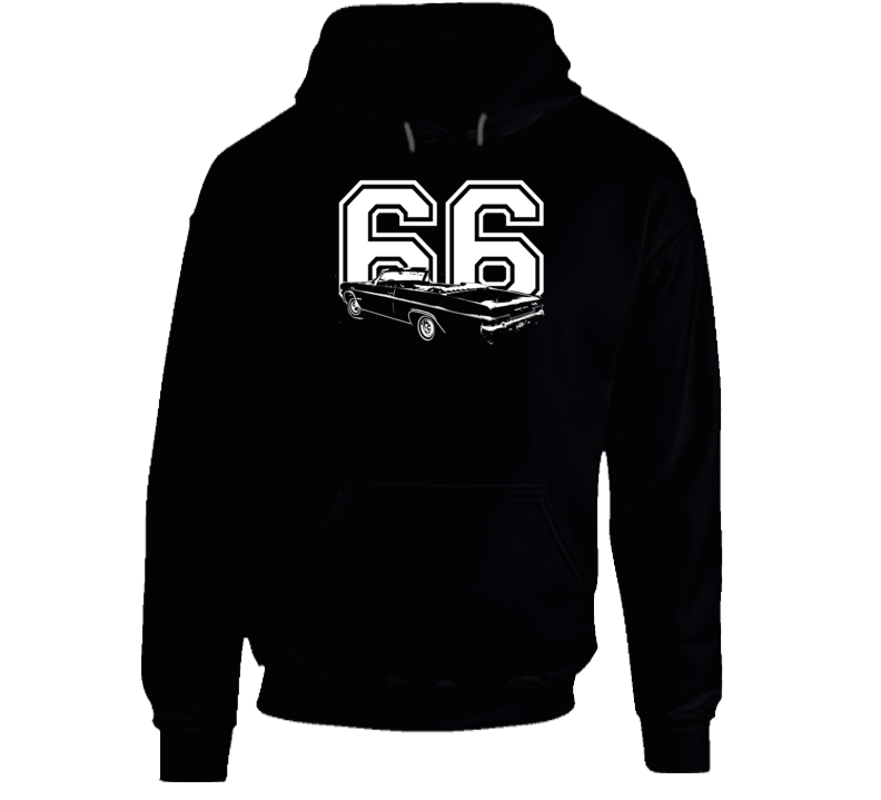1966 Impala Three Quarter Rear Angle View With Year And Model Name Super Comfy High Quality Dark Color Hoodie