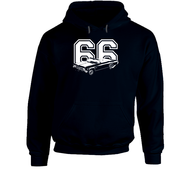 1966 Impala Three Quarter Angle View With Year Super Comfy High Quality Dark Color Hoodie