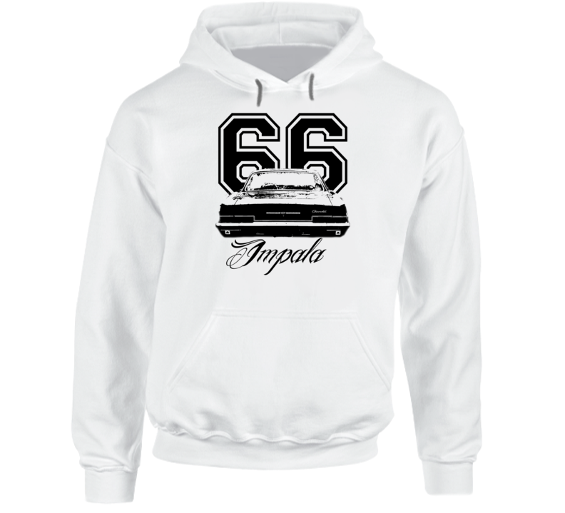 1966 Impala Rear View With Year And Model Name Super Comfy High Quality Light Color Hoodie