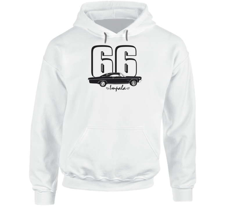 1966 Impala Side View With Year And Model Name Super Comfy High Quality Light Color Hoodie
