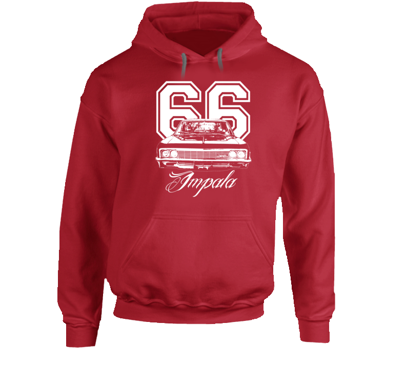 1966 Impala Grill View With Year And Model Name Super Comfy High Quality Dark Color Hoodie