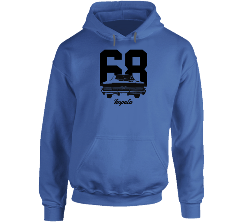 1968 Impala Rear View With Year And Model Name Super Comfy High Quality Light Color Hoodie
