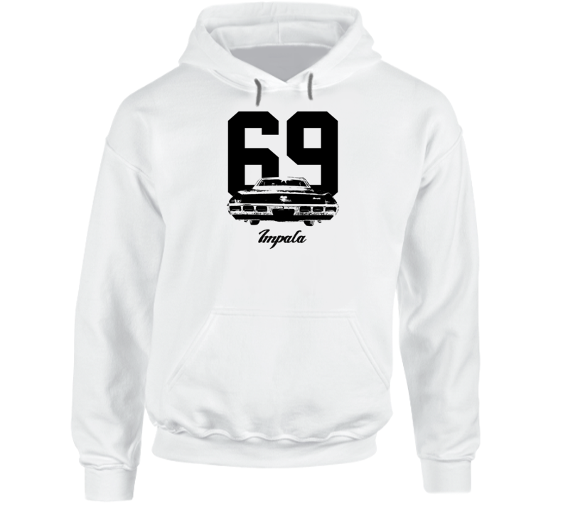 1969  Impala Rear View With Year And Model Name Super Comfy High Quality Light Color Hoodie