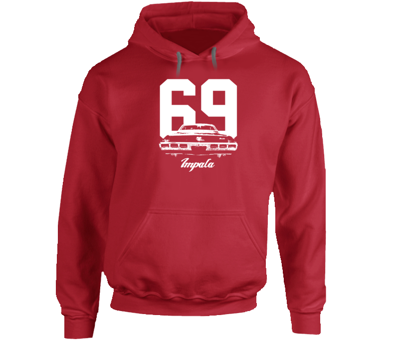1969  Impala Rear View With Year And Model Name Super Comfy High Quality Dark Color Hoodie