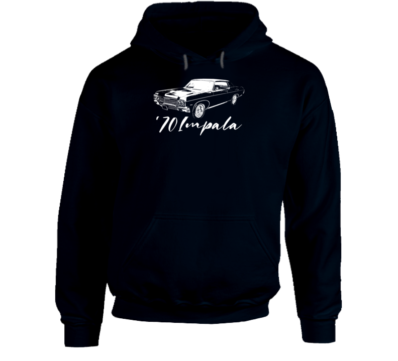 1970 Impala Three Quarter Angle View With Year And Model Name Super Comfy High Quality Dark Color Hoodie
