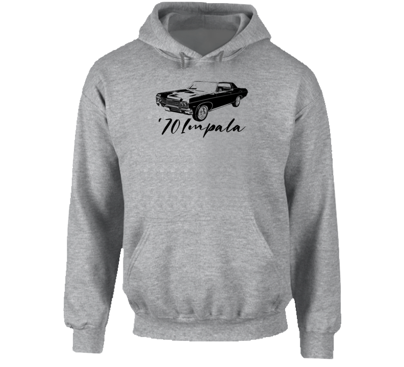 1970 Impala Three Quarter Angle View With Year And Model Name Super Comfy High Quality Light Color Hoodie
