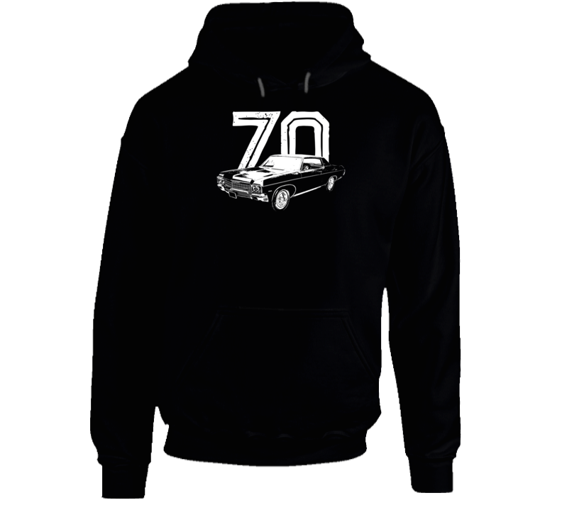 1970 Impala Three Quarter Angle View With Year Super Comfy High Quality Dark Color Hoodie