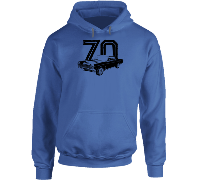1970 Impala Three Quarter Angle View With Year Super Comfy High Quality Light Color Hoodie