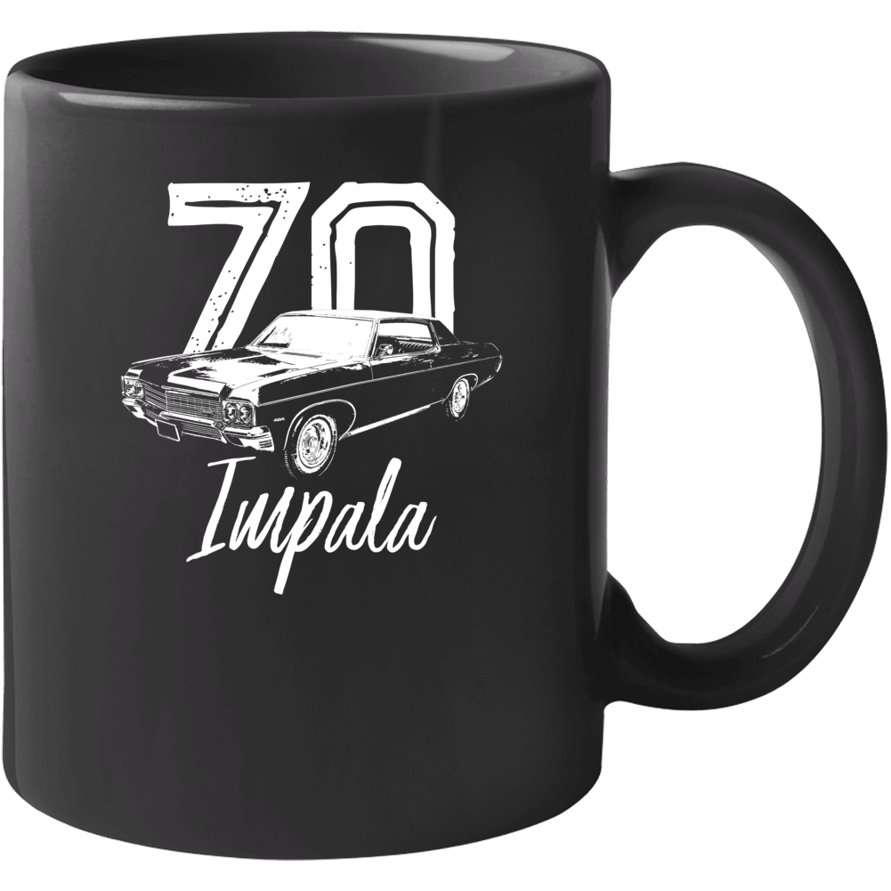 1970 Impala Three Quarter Angle View With Year And Model Name Black Coffee Mug Mug
