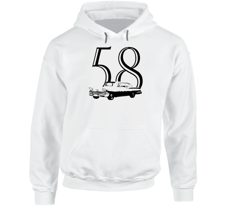 1958 Delray Three Quarter Angle View With Year Super Comfy Light Color Hoodie