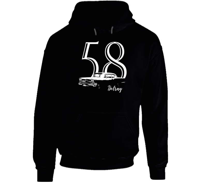 1958 Delray Three Quarter Angle View With Year And Model Name Super Comfy Dark Color Hoodie