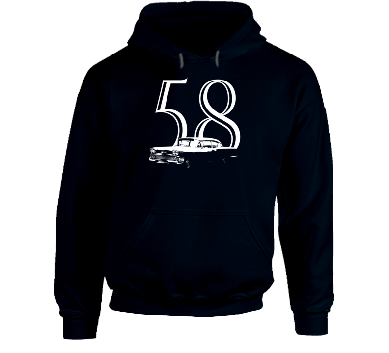 1958 Delray Three Quarter Angle View With Year Super Comfy Dark Color Hoodie