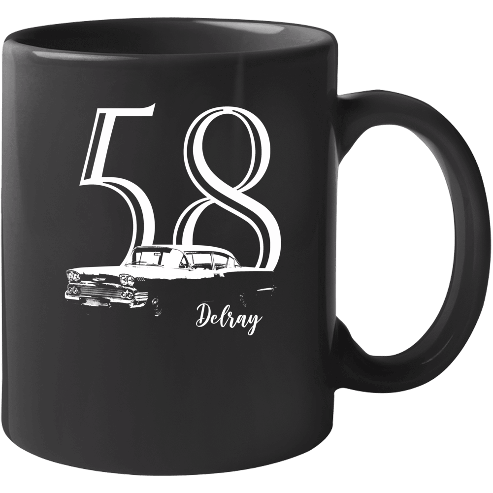 1958 Delray Three Quarter Angle View With Year And Model Name Black Coffee Mug Mug