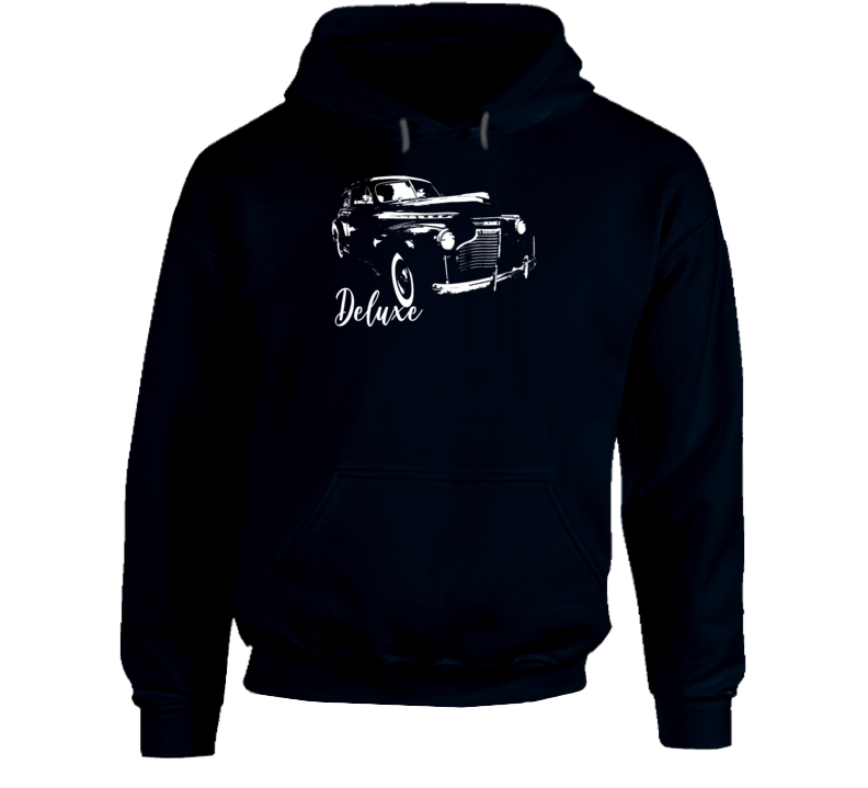 1941 Deluxe Three Quarter Angle View With Model Name Super Comfy Dark Color Hoodie