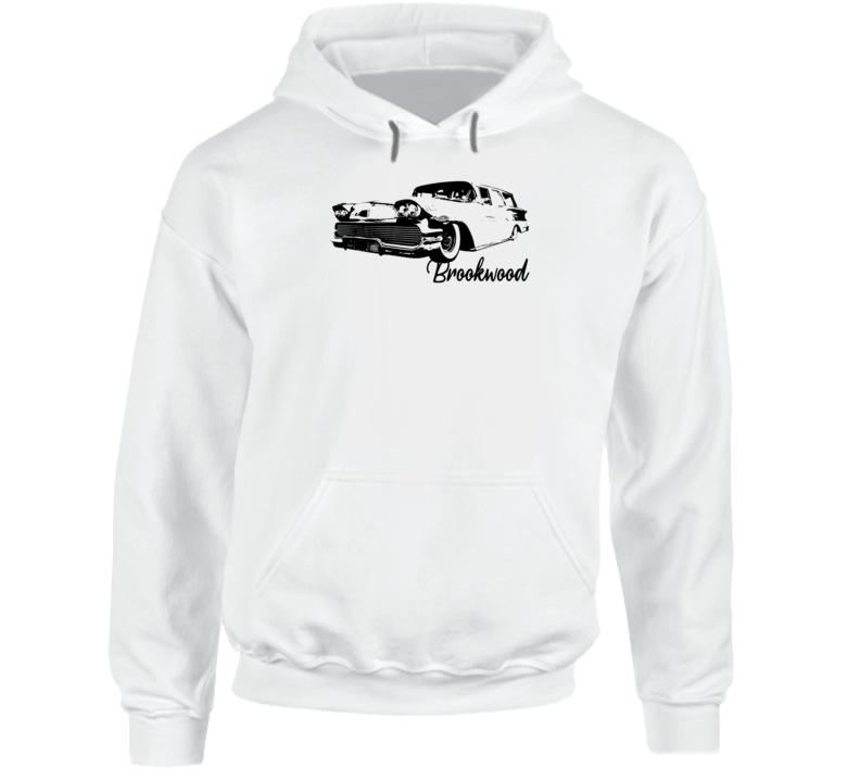 1958 Brookwood Wagon Three Quarter Angle View With Model Name Super Comfy Light Color Hoodie