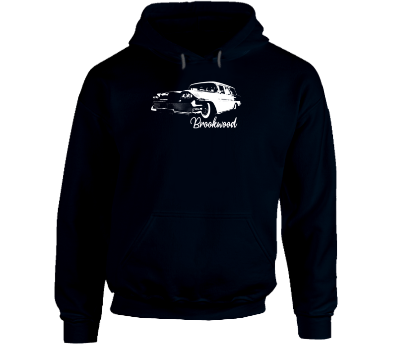 1958 Brookwood Wagon Three Quarter Angle View With Model Name Super Comfy Dark Color Hoodie