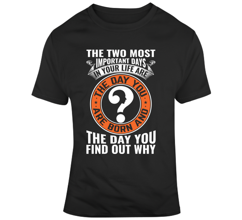 The Two Most Important Days In Your Life Are The Day You Are Born And The Day You Find Out Why Faith Blessed Boss Teacher Student God Jesus Lord Church Bible Inspirational Motivational Christian Religious Pop Culture Hustle Gift Coronavirus TShirt