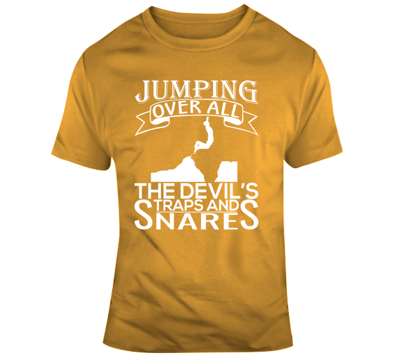 Jumping Over All The Devil's Traps & Snares Faith Blessed Boss Entrepreneur Teacher Student Education God Jesus Lord Church Bible Inspirational Motivational Christian Religious Pop Culture Hustle Funny Gift TShirt