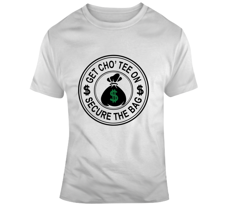 Get Cho' Tee On Secure The Bag Faith Blessed Money Coins Bank Entrepreneur Boss God Jesus Lord Church Bible Inspirational Motivational Christian Religious Pop Culture Hustle Funny Gift TShirt