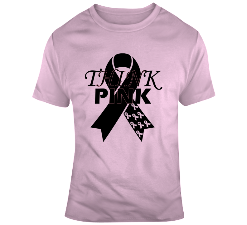 Think Pink #1 Faith Blessed Cancer Survivor Awareness God Jesus Lord Church Bible Inspirational Motivational Christian Religious Pop Culture Hustle Gift Ribbon TShirt