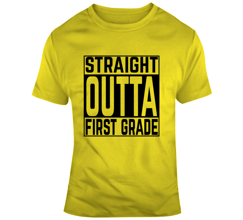 Straight Outta First Grade Faith Blessed Boss Teacher Student School Education God Jesus Lord Church Bible Inspirational Motivational Christian Religious Pop Culture Hustle Funny Gift TShirt
