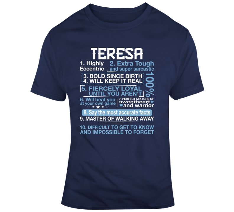 Teresa Faith Blessed God Jesus Lord Church Bible Inspirational Motivational Christian Religious Pop Culture Hustle Funny Gift TShirt