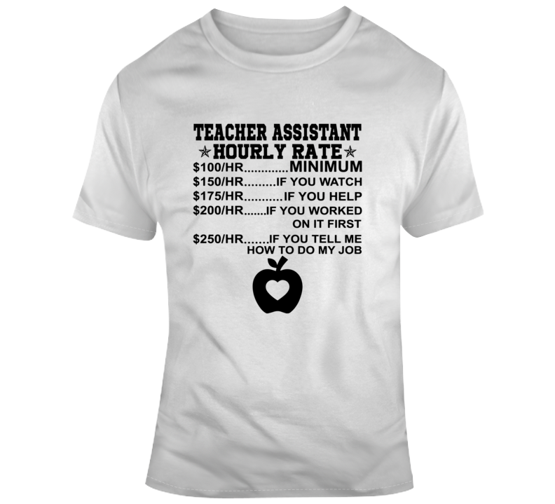 Teacher Assistant Hourly Rate Faith Blessed Student School Education God Jesus Lord Church Bible Inspirational Motivational Christian Religious Pop Culture Hustle Gift Coronavirus TShirt