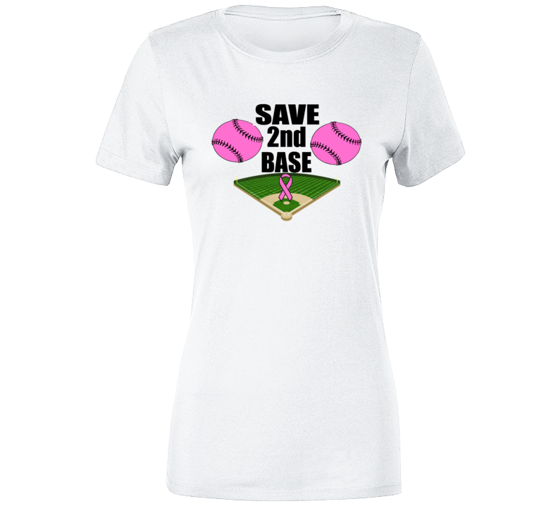Save 2nd Base Breast Cancer Awareness T Shirt