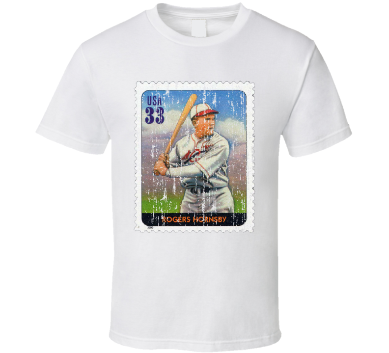 Legends Of Baseball Rogers Hornsby Stamp Collector Gift Worn Look T Shirt