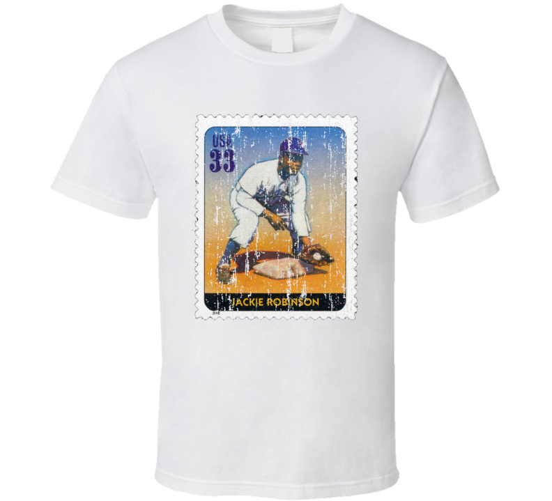 Legends Of Baseball Jackie Robinson Stamp Collector Gift Worn Look T Shirt
