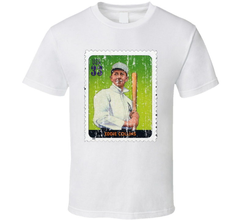 Legends Of Baseball Eddie Collins Stamp Collector Gift Worn Look T Shirt
