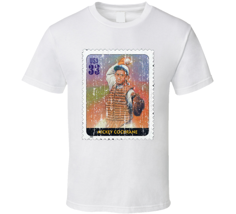 Legends Of Baseball Mickey Cochrane Stamp Collector Gift Worn Look T Shirt